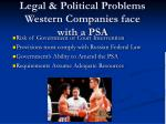 legal political problems western companies face with a psa