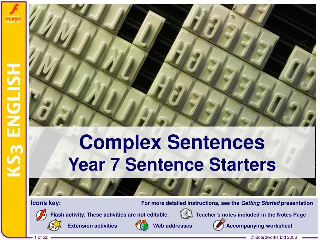 complex sentences year 7 sentence starters l.