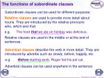 the functions of subordinate clauses