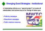 emerging good strategies institutional