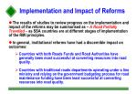 implementation and impact of reforms