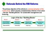 rationale behind the rmi reforms