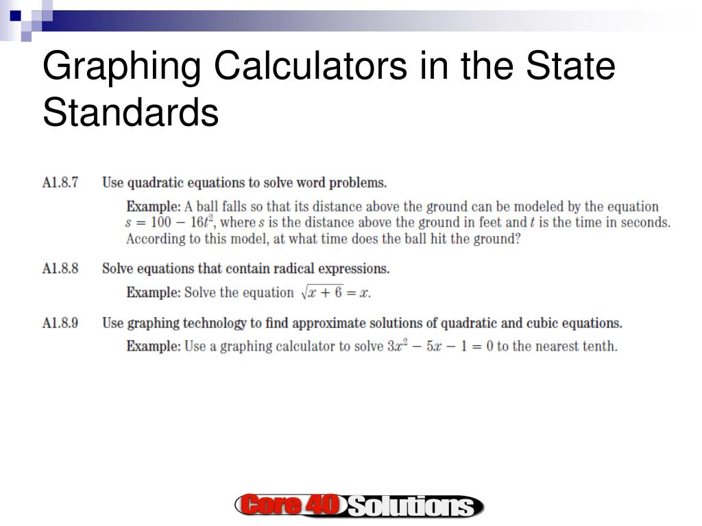 Graphing Calculators in the State Standards