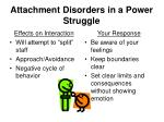 attachment disorders in a power struggle