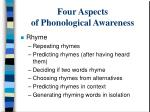 four aspects of phonological awareness7