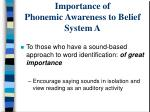importance of phonemic awareness to belief system a