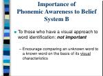 importance of phonemic awareness to belief system b