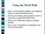 using the word wall
