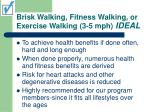 brisk walking fitness walking or exercise walking 3 5 mph ideal