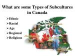 what are some types of subcultures in canada
