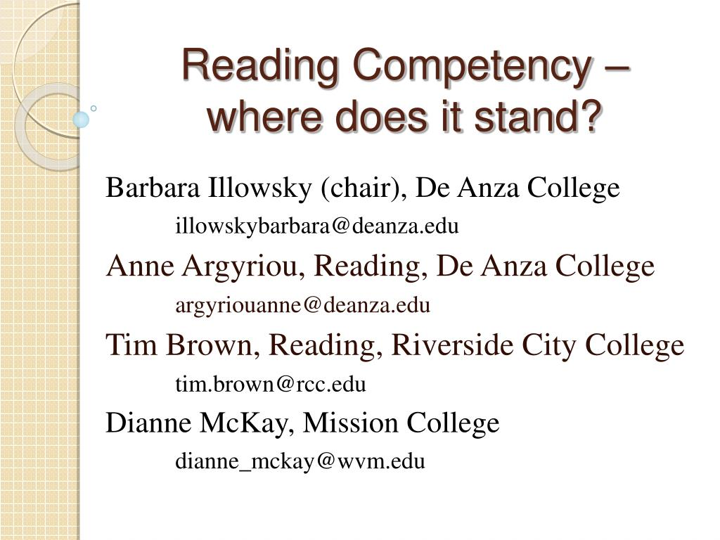 reading competency where does it stand l.