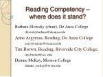reading competency where does it stand