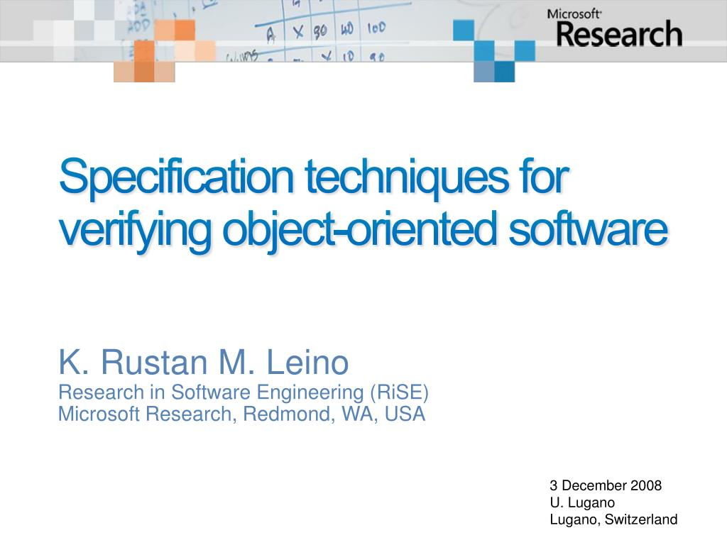 specification techniques for verifying object oriented software l.