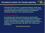procedural content air canada reporting
