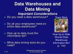 data warehouses and data mining important considerations