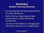 summary student learning outcomes47