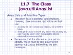 11 7 the class java util arraylist84