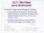 11 7 the class java util arraylist85