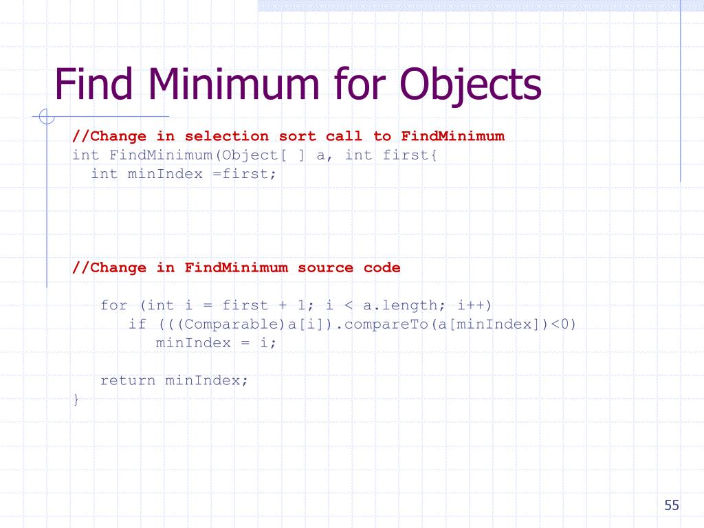Find Minimum for Objects