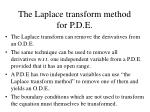 the laplace transform method for p d e