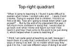 top right quadrant