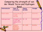 comparing the strength of van der waals force and hydrogen bond