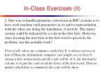 in class exercises ii