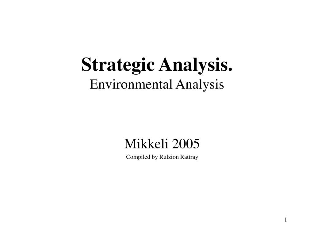 strategic analysis environmental analysis l.