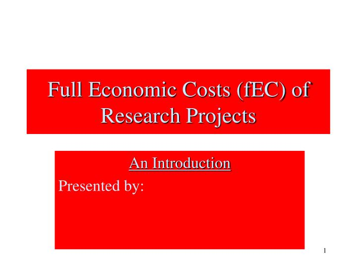 full economic costs fec of research projects n.