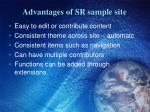 advantages of sr sample site