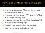 pdas and context free languages section 7 2