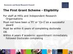 the first grant scheme eligibility