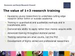 the value of 1 3 research training