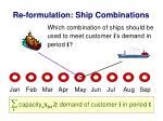 re formulation ship combinations
