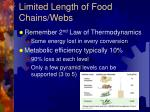 limited length of food chains webs