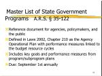 master list of state government programs a r s 35 122