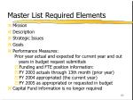 master list required elements