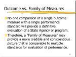 outcome vs family of measures