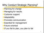 why conduct strategic planning