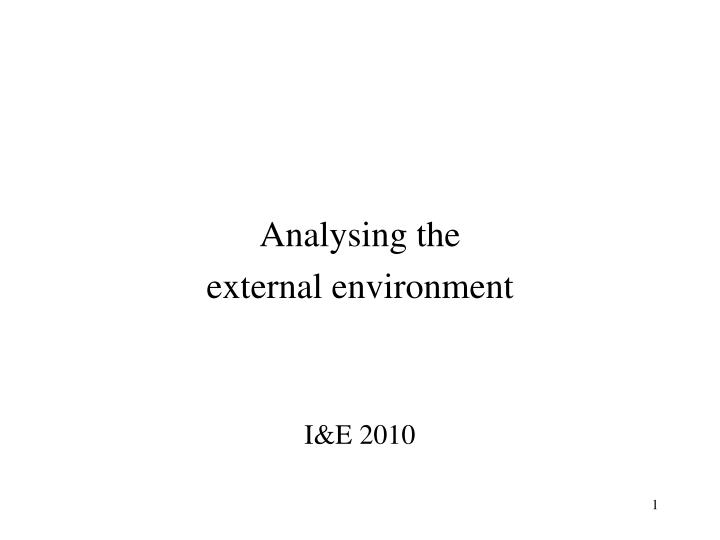 Analysing the