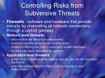 controlling risks from subversive threats