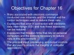 objectives for chapter 16