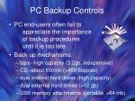 pc backup controls