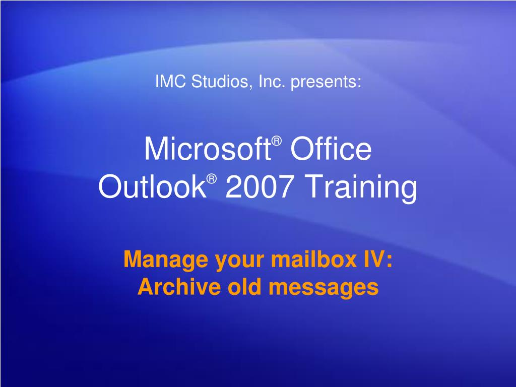 microsoft office outlook 2007 training l.