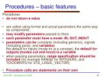 procedures basic features