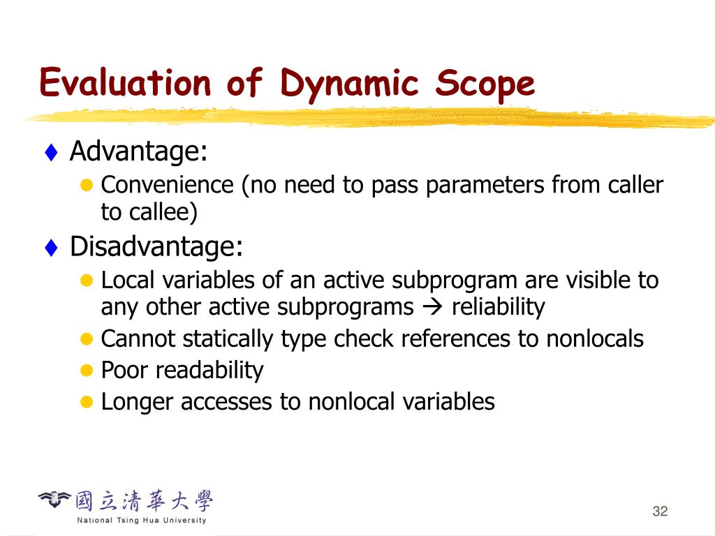 Evaluation of Dynamic Scope