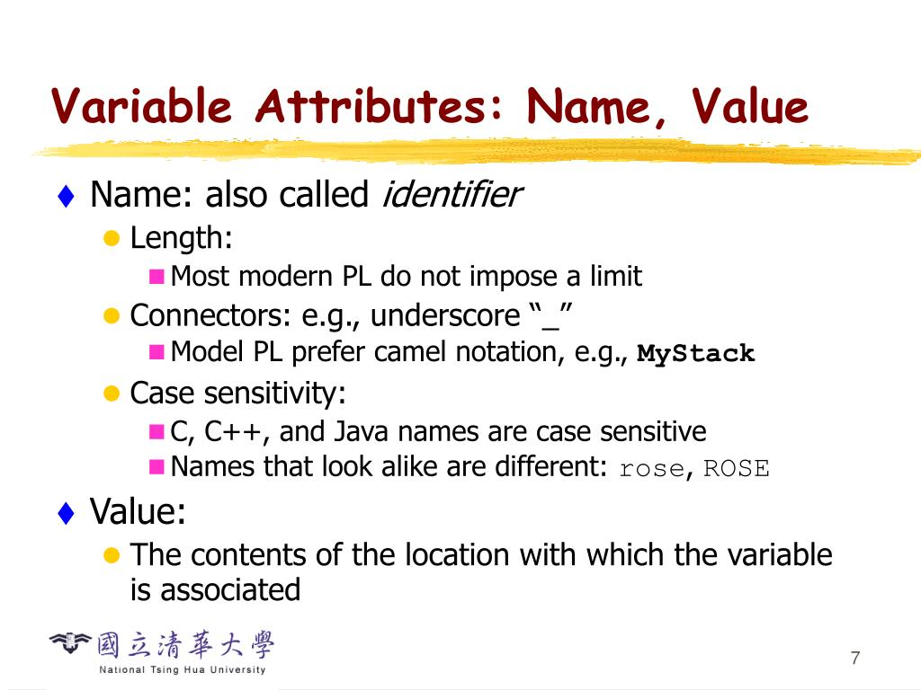 Variable Attributes: Name, Value