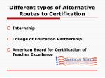 different types of alternative routes to certification