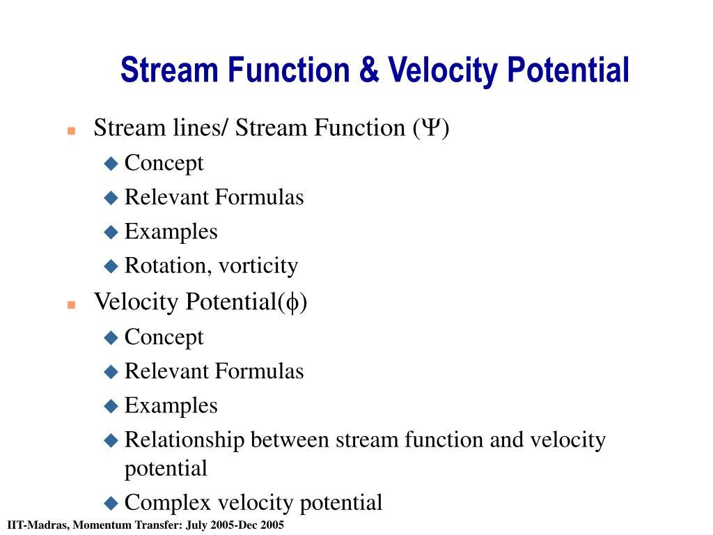 stream function velocity potential l.