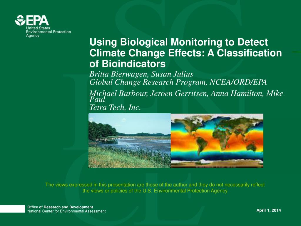 using biological monitoring to detect climate change effects a classification of bioindicators l.